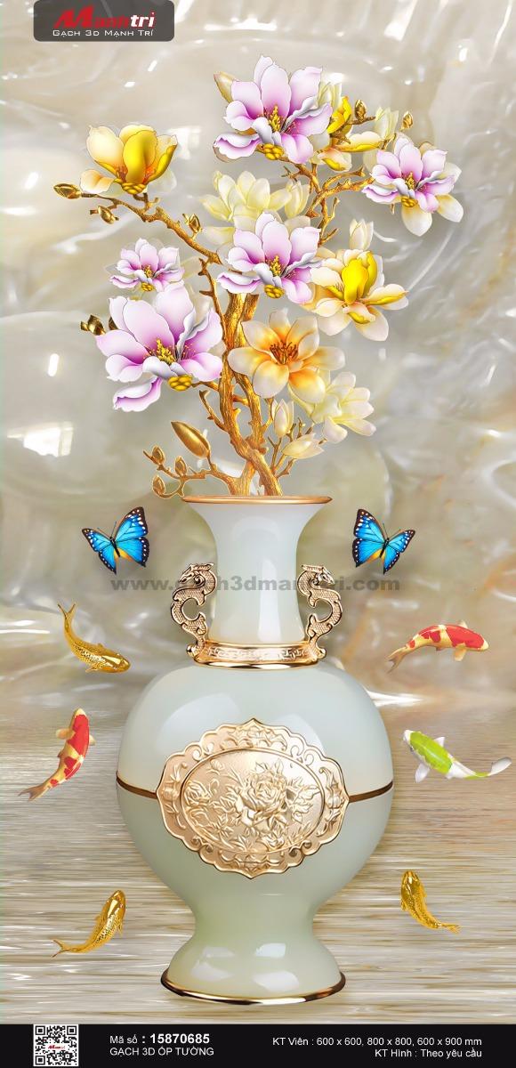 Bình hoa mộc lan nền ngọc