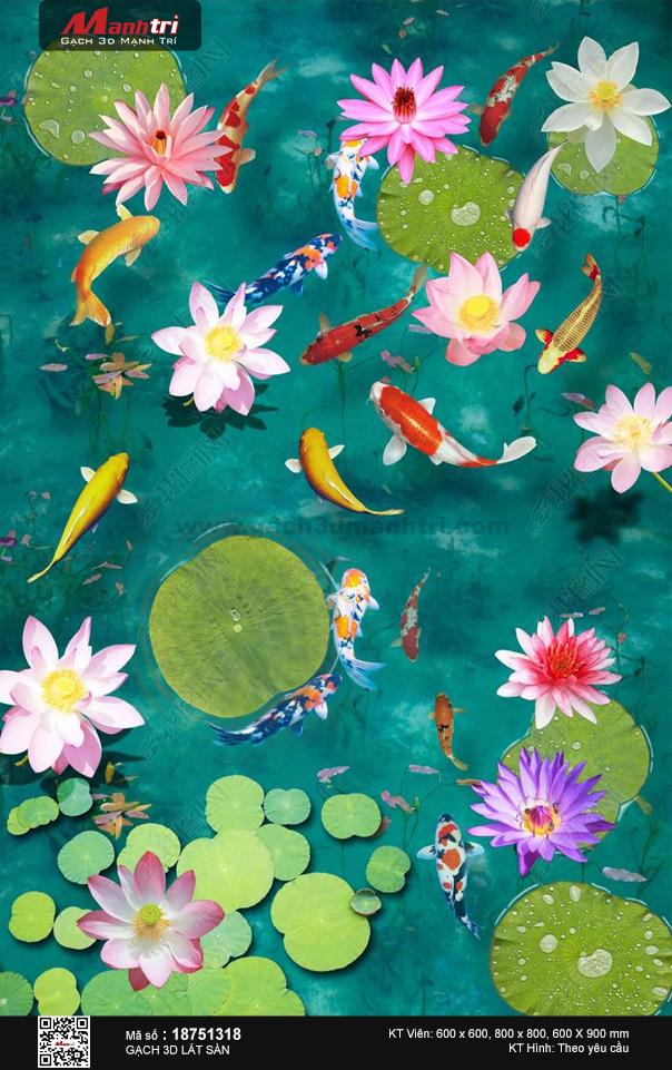 Đàn cá chép bên hoa sen và hoa súng