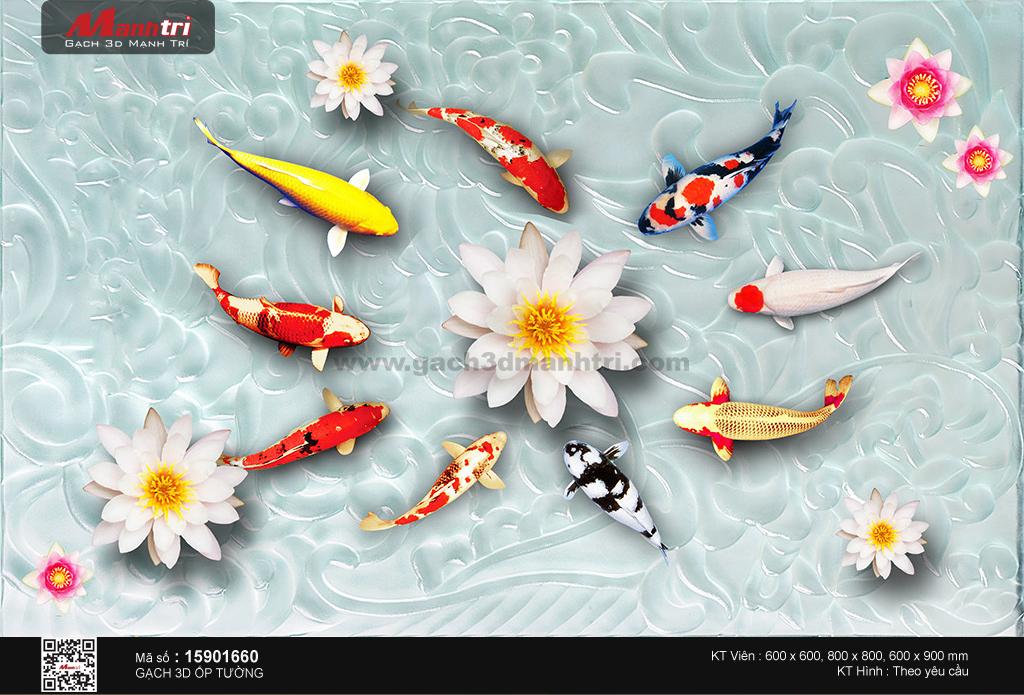 Cửu ngư bên hoa sen trắng