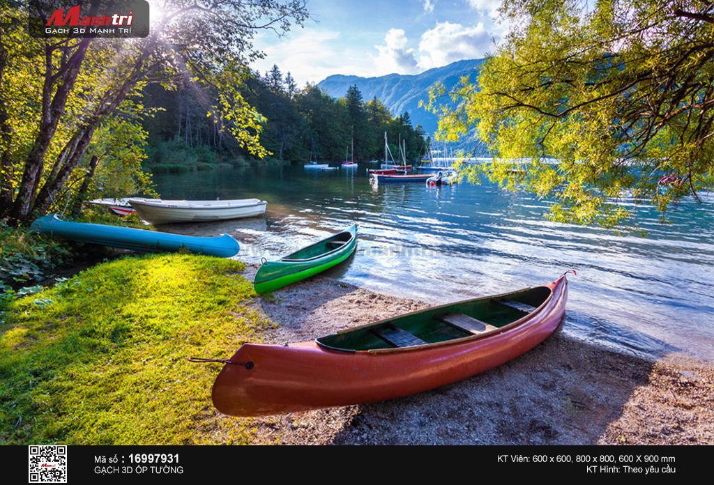 Những con thuyền sắc màu trên bờ hồ