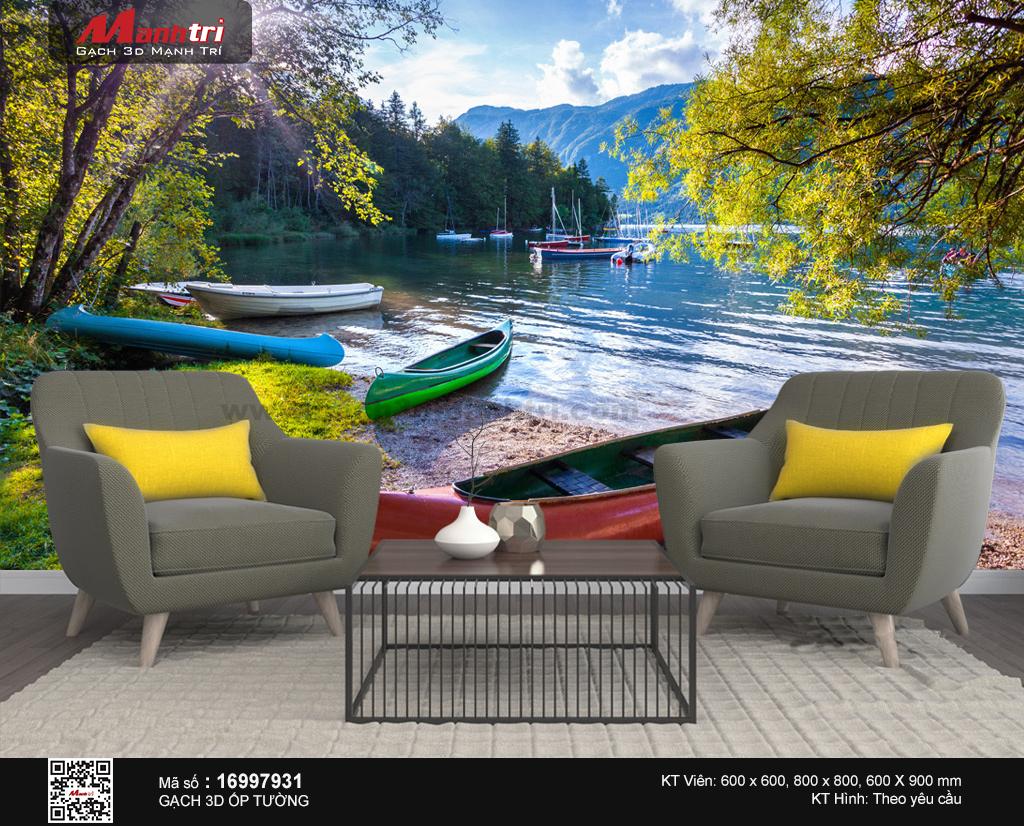 Những con thuyền sắc màu trên bờ hồ phối cảnh