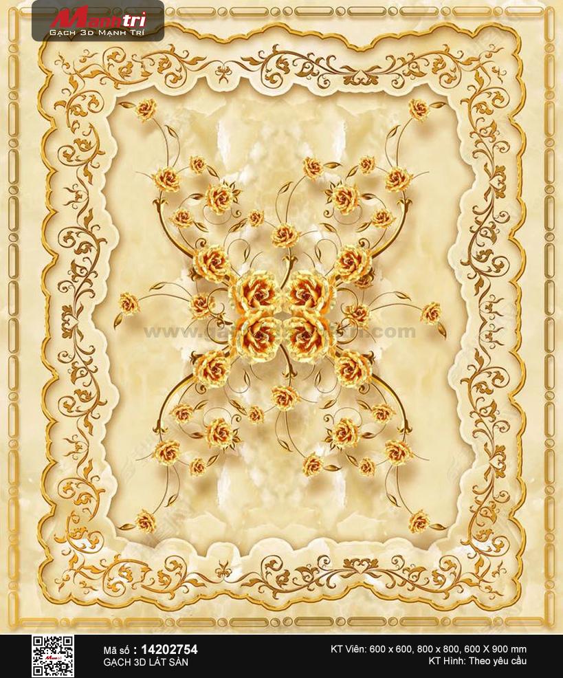 Họa tiết hoa hồng vàng viền dây leo quý phái