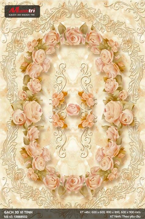 Hoa hồng và dây leo trên nền cẩm thạch