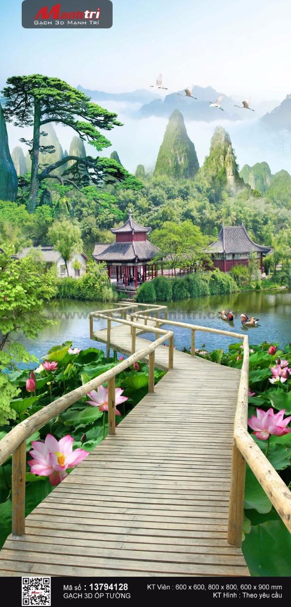Cầu gỗ ngang hồ sen