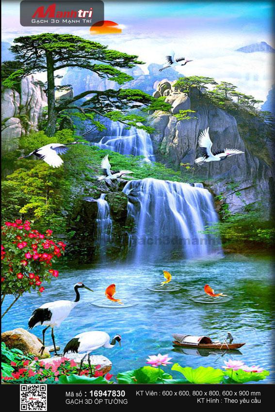 Đàn hạc đón bình minh bên thác nước