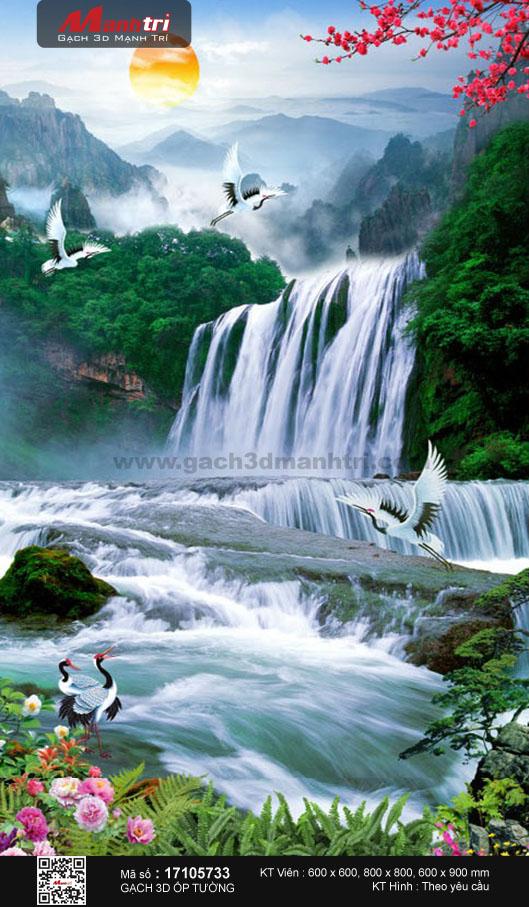 Đàn hạc vui đùa bên thác nước