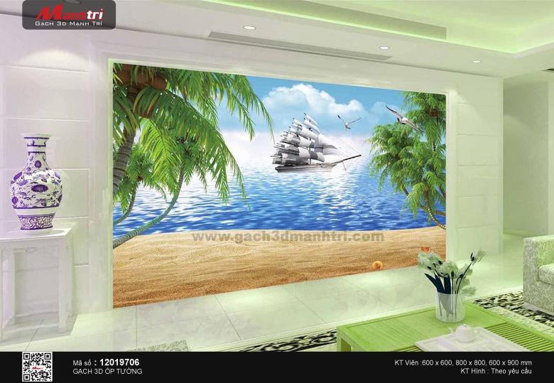 Thuyền bên bãi cát và hàng dừa