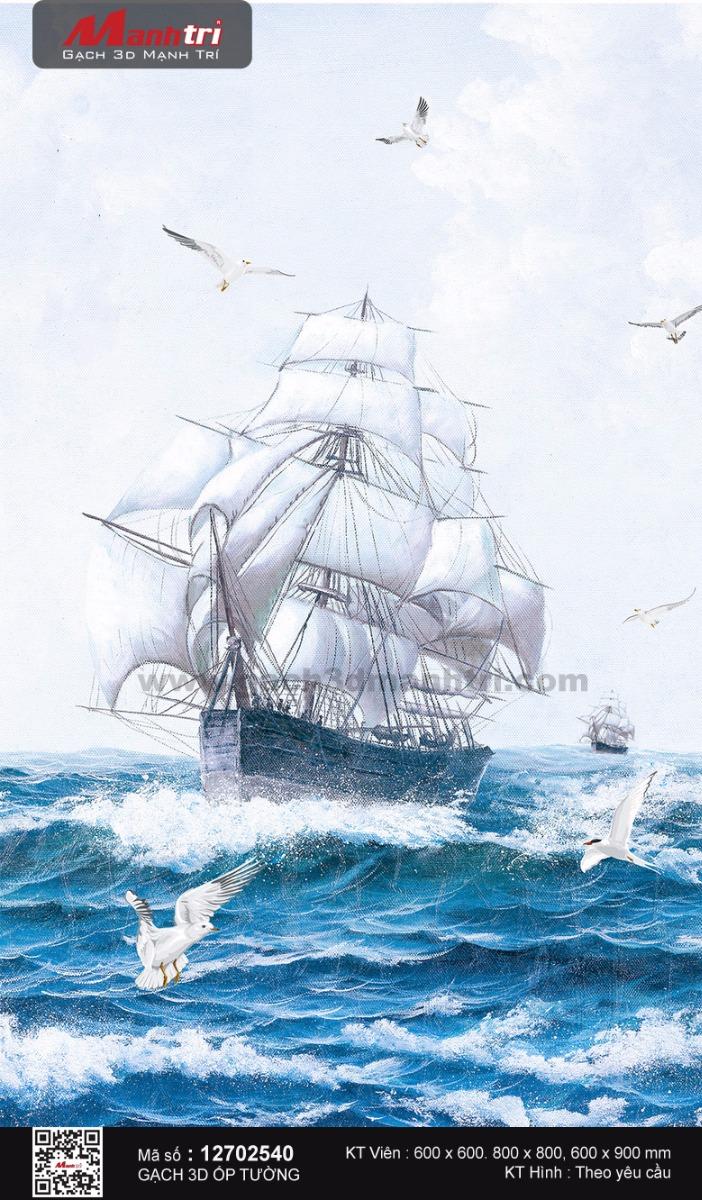 Thuyền và hải âu trên sóng xanh