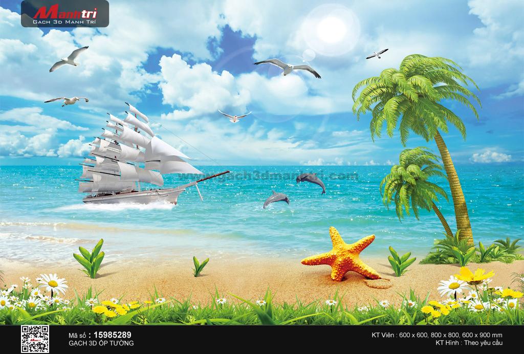 Thuyền buồm bên bờ biển nhiệt đới