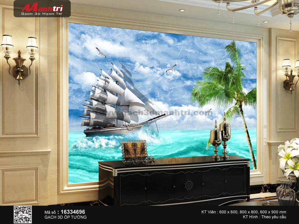 Thuyền buồm nền biển và mây mờ