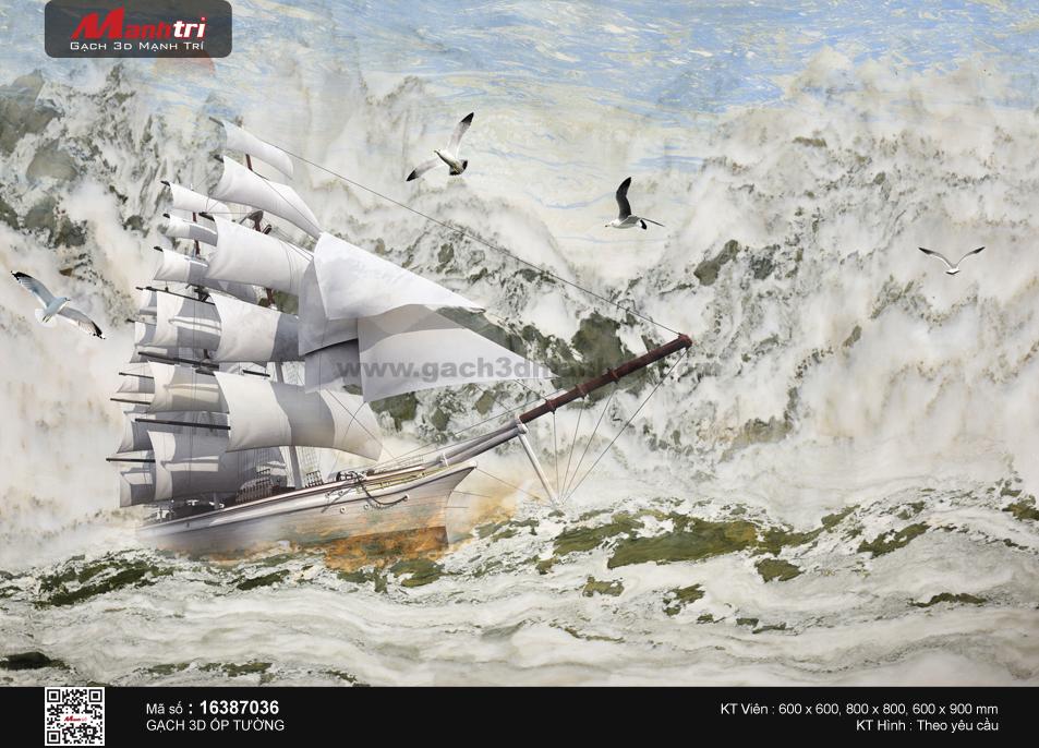 Thuyền giữa đại dương nổi sóng