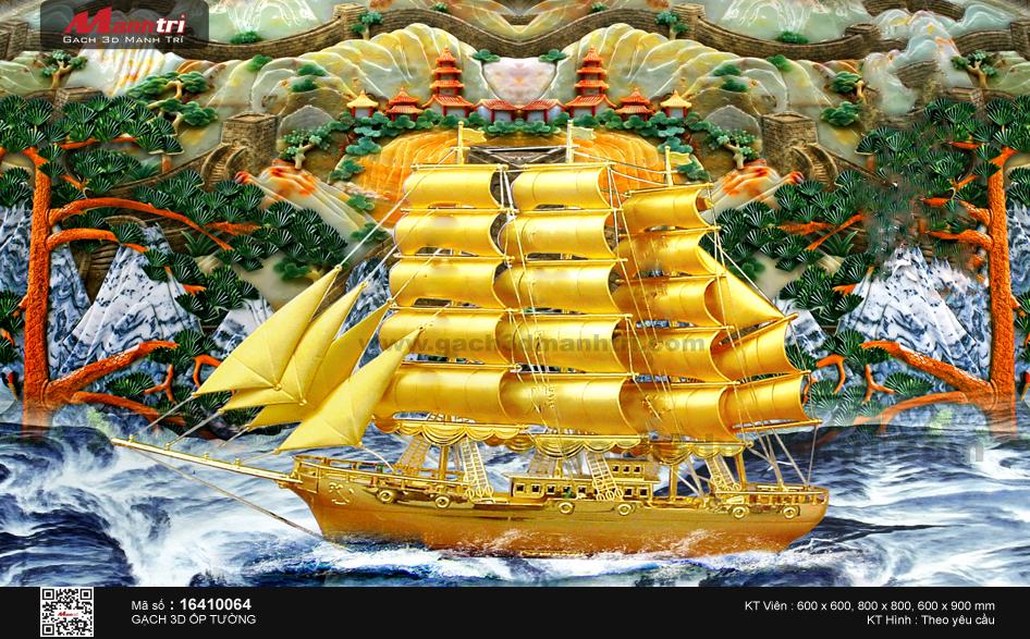 Thuyền vàng nền sơn thủy ngọc