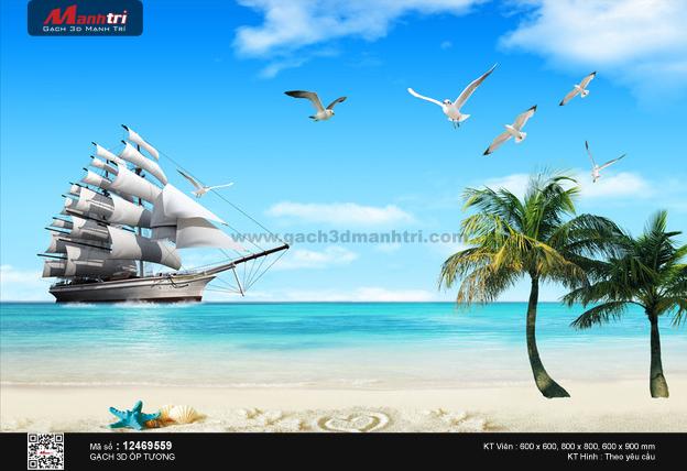 Con thuyền bên bờ cát trắng