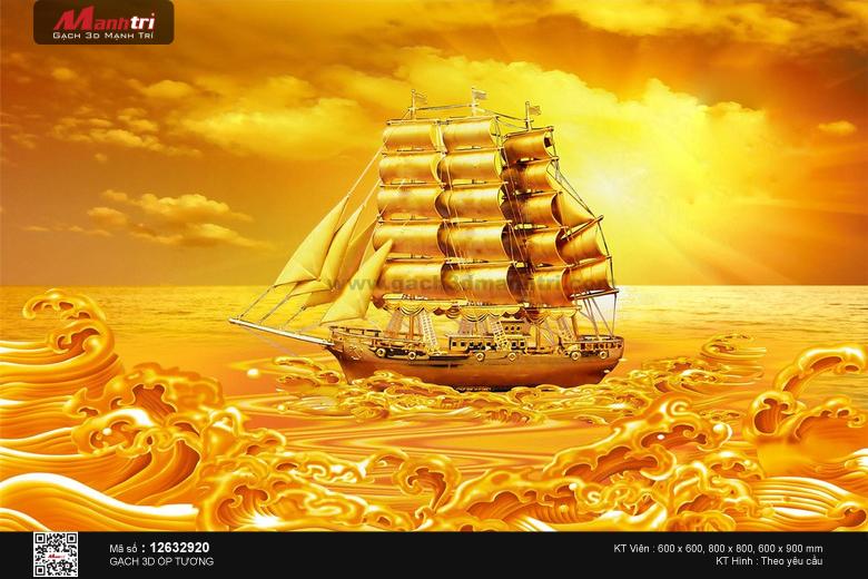 Toàn cảnh thuyền và biển vàng rực rỡ
