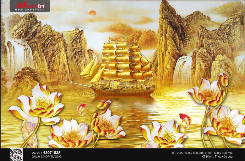 Thuyền vàng bên hoa sen và cá chép