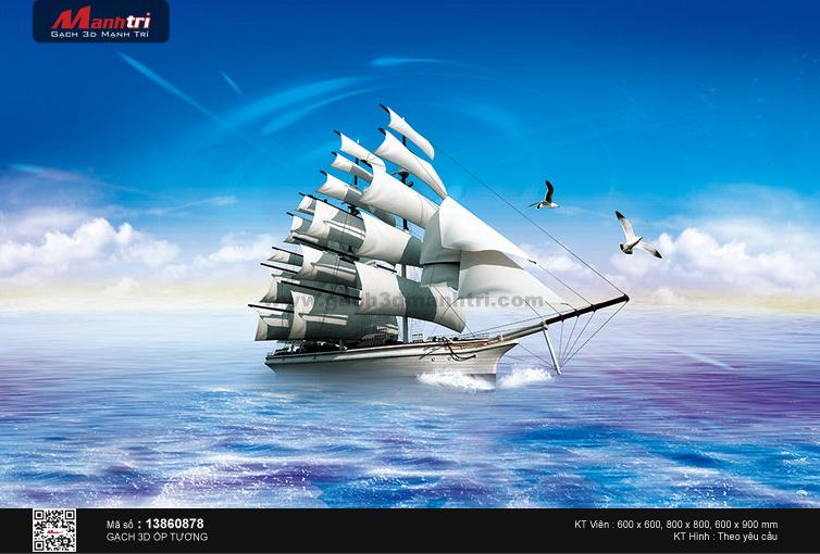 Thuyền trắng cùng hải âu trên sóng xanh