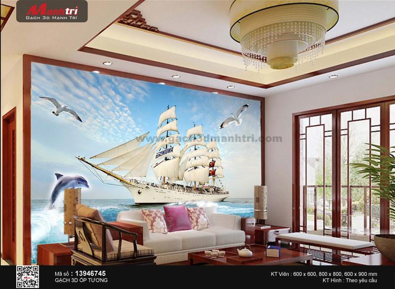 Thuyền lớn bên hải âu và cá heo