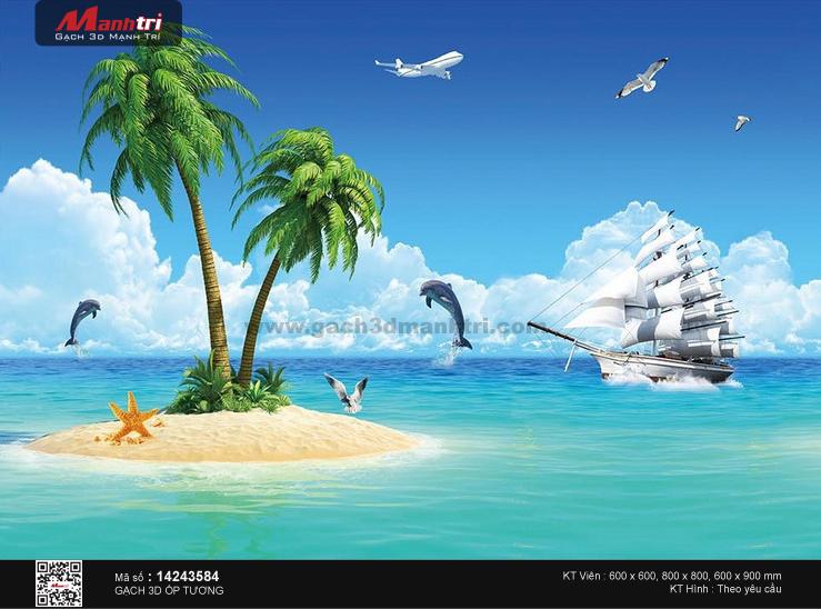 Thuyền trắng giữa cảnh biển nên thơ