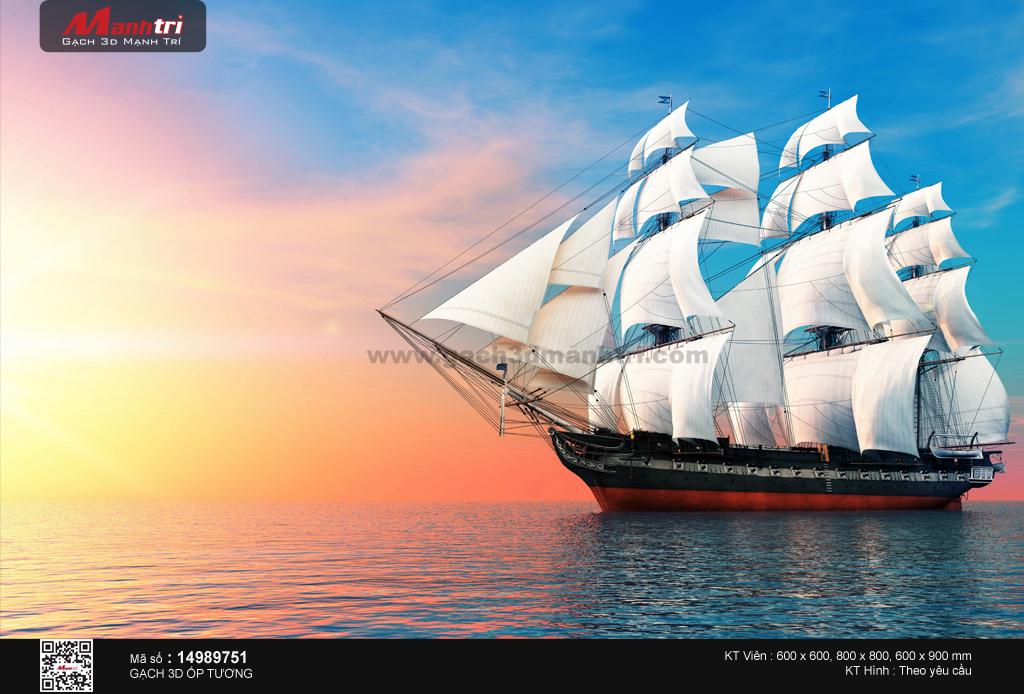 Thuyền buồm lớn đón bình minh