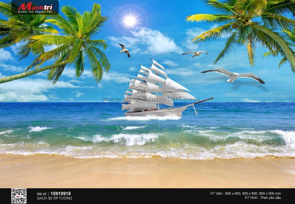 Thuyền trắng bên bờ biển ngập nắng