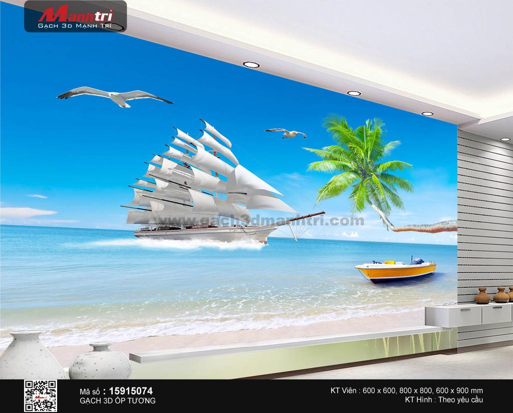 Thuyền trắng bên bờ biển nhiệt đới