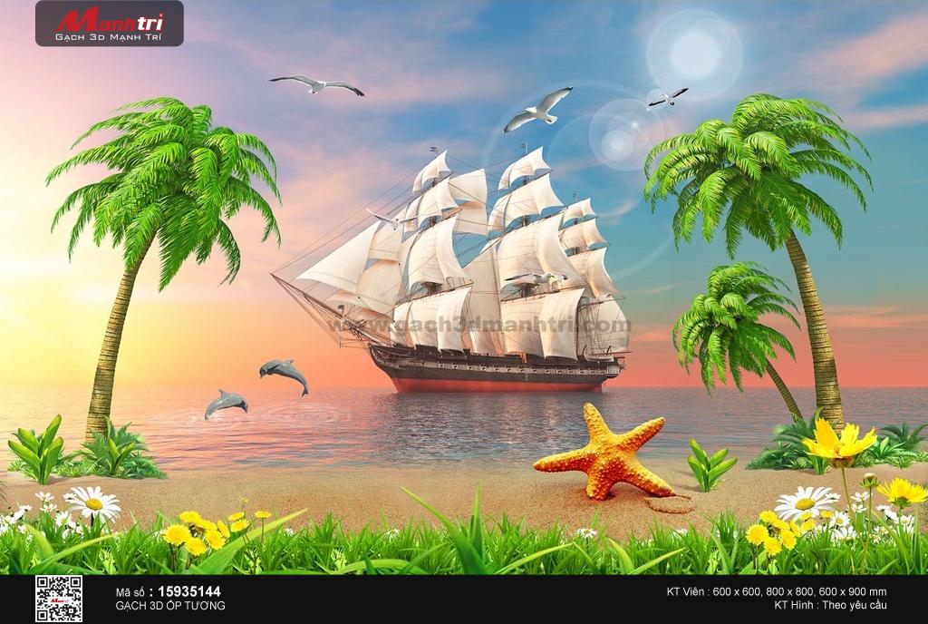 Con thuyền giữa cảnh biển sắc màu