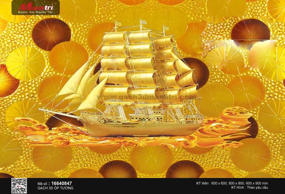 Thuyền vàng nền tiền đồng