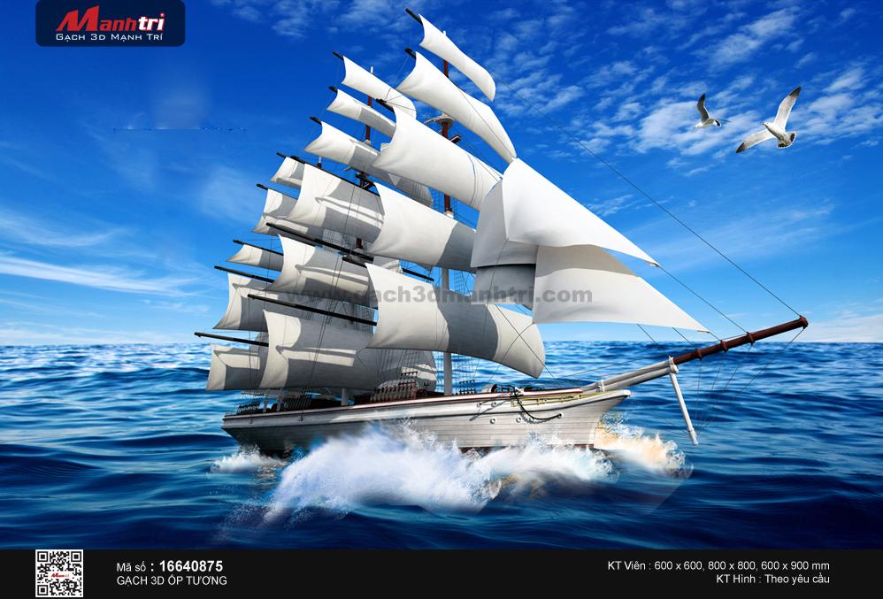 Thuyền lướt giữa biển xanh lặng sóng
