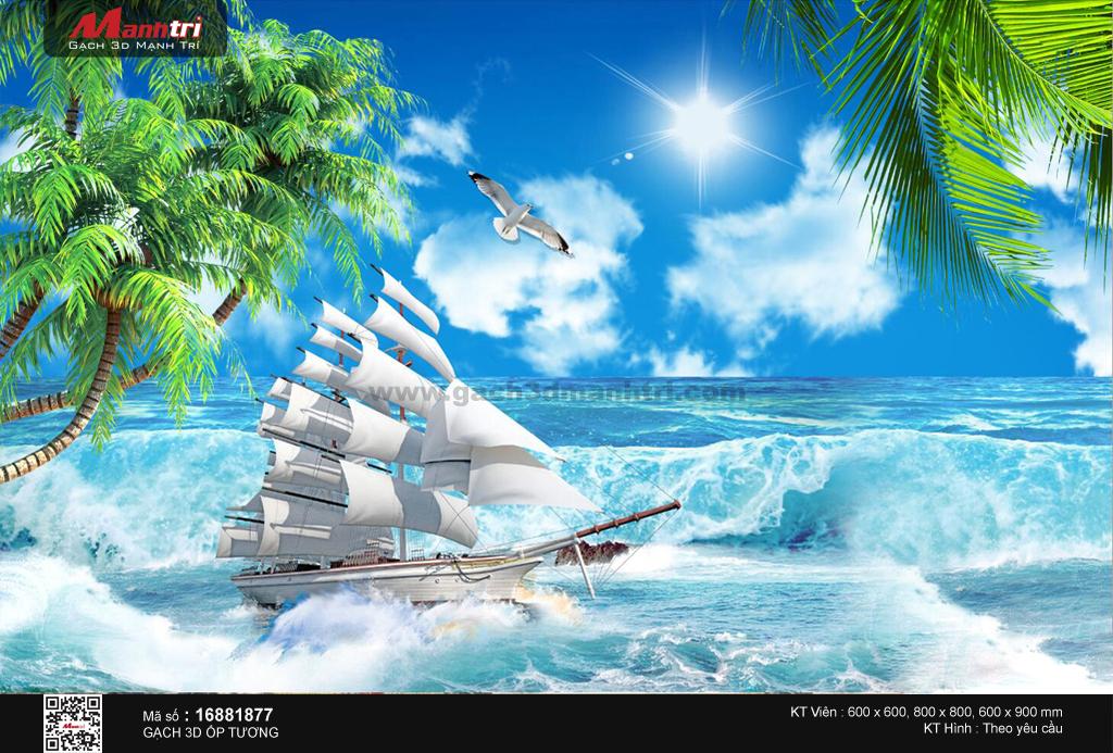 Thuyền trên sóng biển trắng xóa