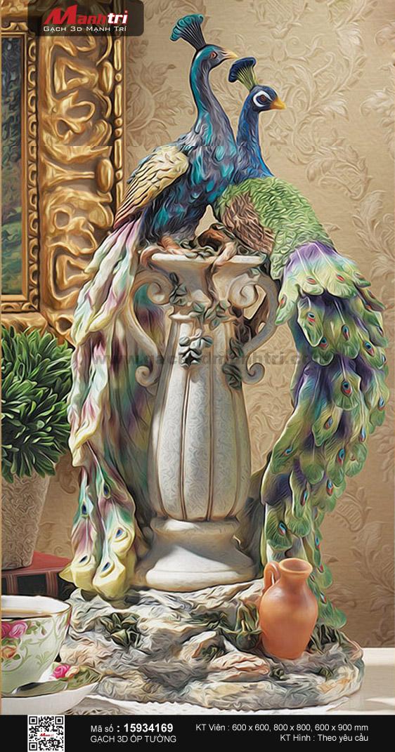 Bình hoa cổ họa tiết chim công