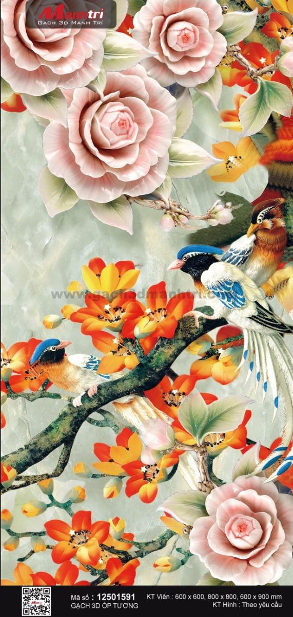 Đôi chim trên nhành hoa đỏ