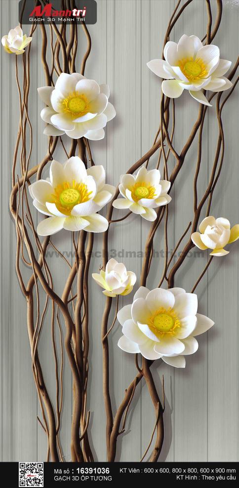 Hoa sen trắng trên thân gỗ