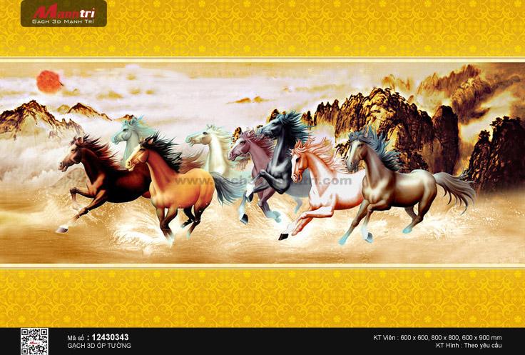 Bát mã nền sơn thủy viền hoa văn vàng