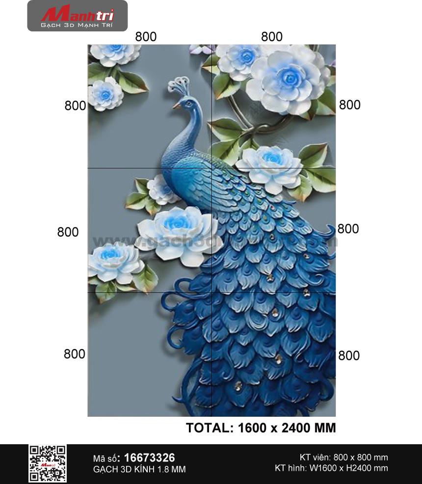 Gạch 3D chim Công