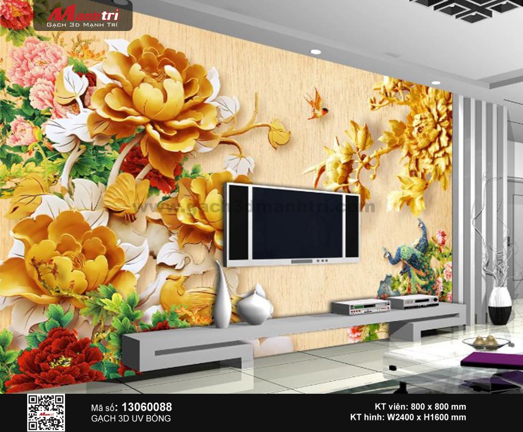 Gạch 3D hoa Mẫu Đơn